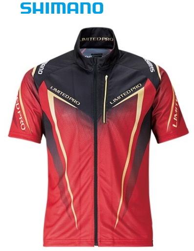 シマノ フルジップシャツ リミテッドプロ (半袖) SH-012S レッド XL(LL)サイズ (S01) (O01) (送料無料) (セール対象商品)