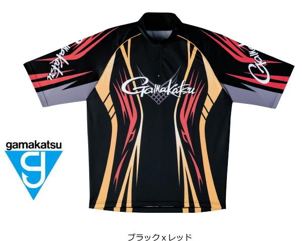 がまかつ 2WAYプリントジップシャツ(半袖) GM-3504 ブラックxレッド Lサイズ (お取り寄せ商品) (送料無料)