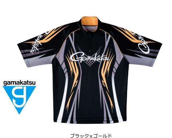 がまかつ 2WAYプリントジップシャツ(半袖) GM-3504 ブラックxゴールド Mサイズ (お取り寄せ商品) (送料無料)
