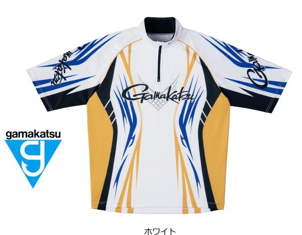 がまかつ 2WAYプリントジップシャツ(半袖) GM-3504 ホワイト LLサイズ (お取り寄せ商品) (送料無料)