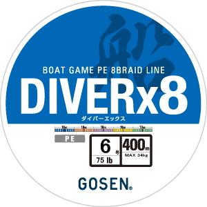 買い物 SDE製法によるハイレベル船用8本組PEライン メール便対応 ゴーセン GBD853050 400m 6号 価格 PEライン ダイバーX8