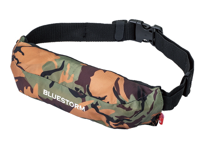 BLUESTORM BSJ-9320RS カモ 膨脹式ライフジャケット ウエストベルトモデル(水感知機能付き) Type-A 桜マーク(承認マーク)有り