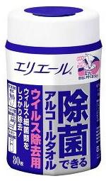 エリエール 除菌できるアルコールタオル 全品送料無料 ウイルス除去用 80枚 本体 高価値