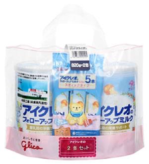 グリコ 買取 アイクレオ アイクレオのフォローアップミルク 9ヶ月頃から ※軽減税率対象商品 高級 スティックタイプ5本付き 粉ミルク 820g×2缶セット