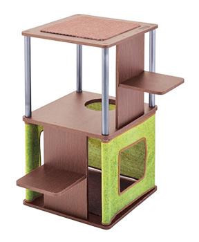 ペティオ necoco コーナーや壁ぎわに置きやすい キャットリビングタワー ロータイプ (1個) キャットタワー
