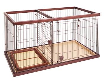ペティオ トイレのしつけが出来る ドッグルームサークル ブラウン ワイド (1個) 犬用ケージ