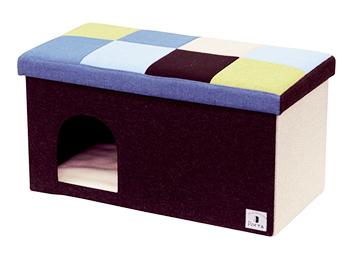 ペティオ ポルタ ドッグハウス&スツール モザイク ワイド ブルー (1個) クッション付 Porta