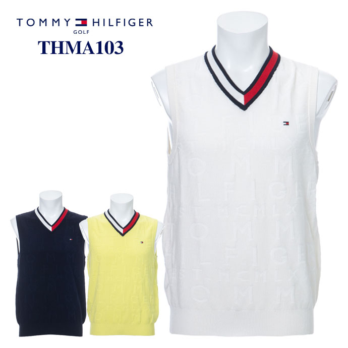 当店一番人気 TOMMYHILFIGER THMA103 VEST 新品 ベスト Vネック 予約 Vネックニットベスト マークダウン トミーヒルフィガー ニット THMA103 《あす楽》