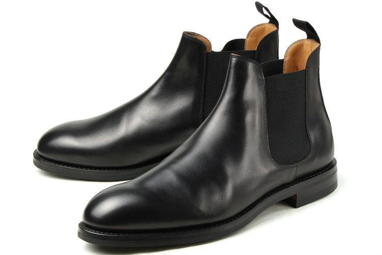 【エントリーでポイント10倍】大きいサイズ 靴【28cm 29cm 29.5cm】Crockett & Jones(クロケットアンドジョーンズ) CHELSEA 5(チェルシー 5) 9542-4015-25 ブラックワックスカーフ ビッグサイズ