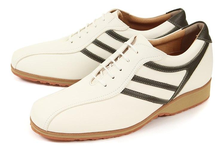 【エントリーでポイント10倍】5cmUP シークレットシューズ 北嶋製靴(キタジマセイカ) カジュアルシューズ レザースニーカー 997 ホワイト