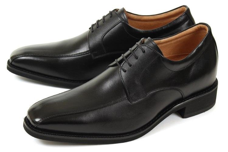 6cmUP シークレットシューズ 北嶋製靴(キタジマセイカ) ビジネスシューズ スワールトゥ 1976 ブラック
