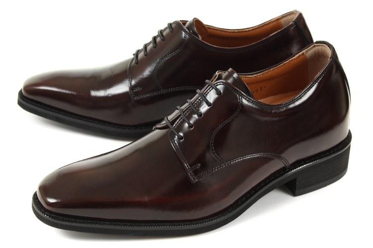 6cmUP シークレットシューズ 北嶋製靴(キタジマセイカ) ビジネスシューズ プレーントゥ 1931 ワイン