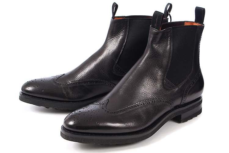 大きいサイズ 靴 Santoni(サントーニ) メンズ サイドゴアブーツ ブラック ビッグサイズ