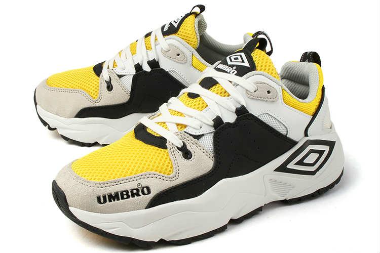 【セール】UMBRO(アンブロ) ダッドスニーカー RUN M(ラン M) 81586U HUQ ホワイト/ブラック/イエロー