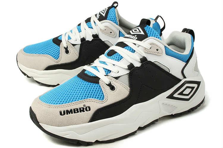 【SALE!!】 UMBRO(アンブロ) ダッドスニーカー RUN M(ラン M) 81586U HUS ホワイト/ブラック/ブルー【交換・返品・ラッピング不可】
