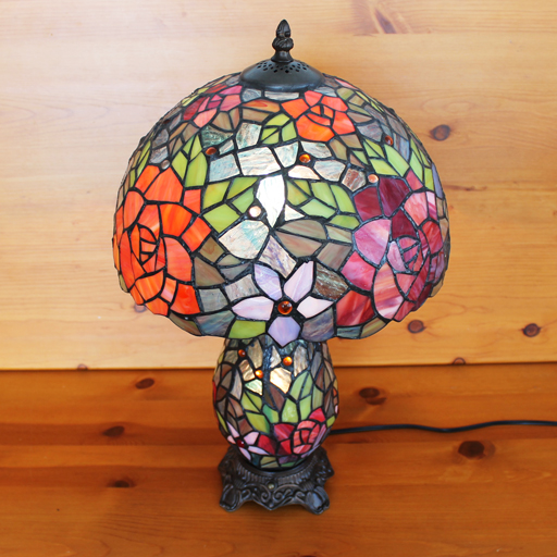 【送料無料】ステンドグラスランプ 2色の薔薇の花(アナスタシア) 上下2灯大型 31×h50【照明・スタンド】☆