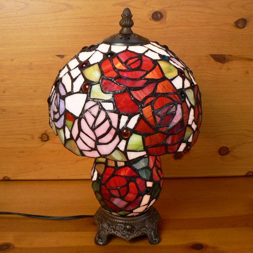【送料無料】ステンドグラスランプ 薔薇の花 (シャルロット)上下2灯 中型 21×h35   【照明・スタンド】☆