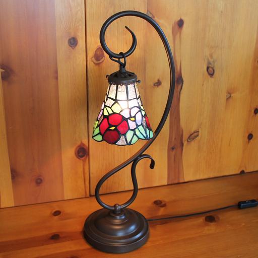 ステンドランプ 吊り型1アーム花柄ステンドグラスランプ 20×h57 【照明・スタンド】☆