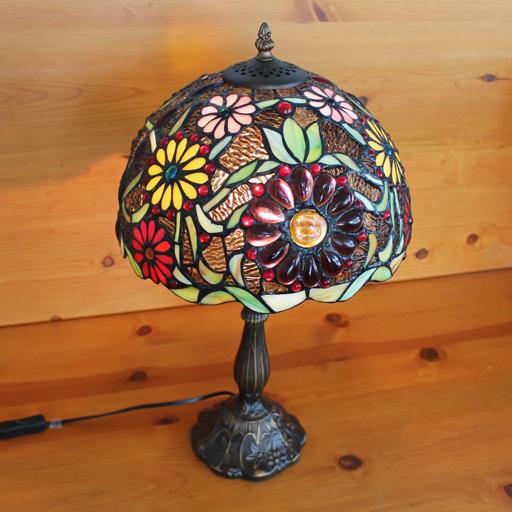 【送料無料】ステンドグラスランプ色鮮やかな小花<マーガレット風>大型 30×h51 【照明・スタンド】