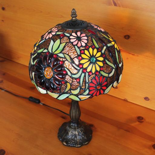 【送料無料】ステンドグラスランプ色鮮やかな小花大型 30×h51 【照明・スタンド】