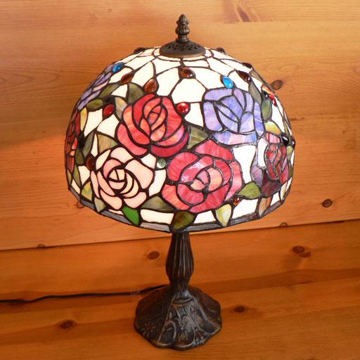 【送料無料】ステンドグラスランプ 薔薇の花 (ハーモニィ) 大型 32×h51 【照明・スタンド】