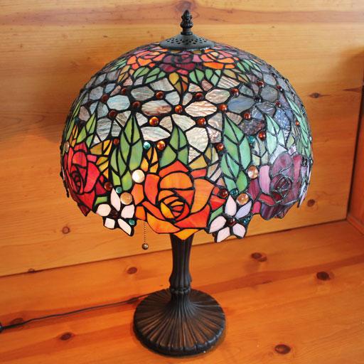 ステンドグラスランプ 優雅なバラ (グレンドーラ) 特大 40×h60【薔薇/照明・スタンド】