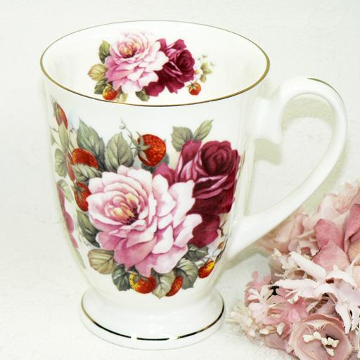 レンジで使える マグカップ ボーンチャイナ smtb-KD 薔薇とワイルドストロベリー ロイヤルアーデン 正規認証品!新規格 入荷予定