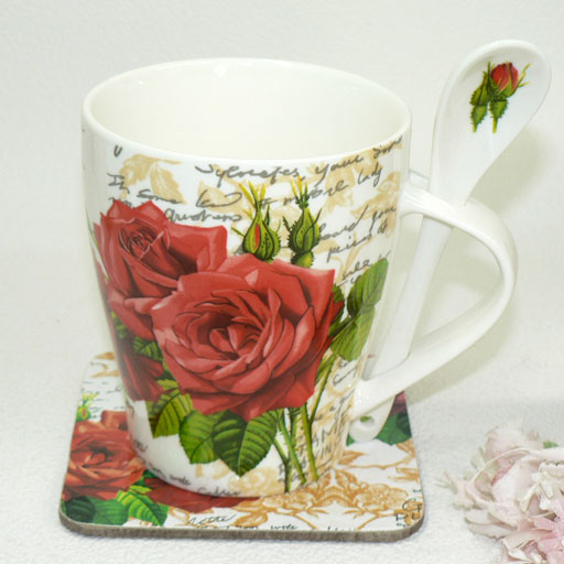 Chock full of 6 (^-^) bone China Red & pink mugs, set of 6 (with spoon coaster box set)