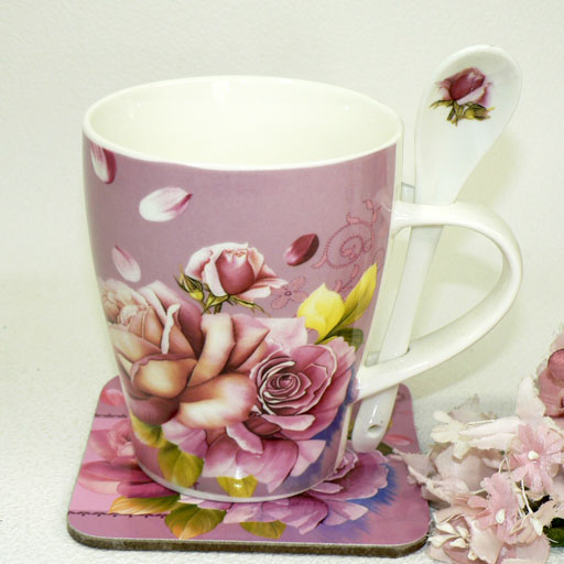 Six points (^ - ^) of bone china pink pair mug cup six points sets (entering vanity case with the spoon coaster) crowded during movement