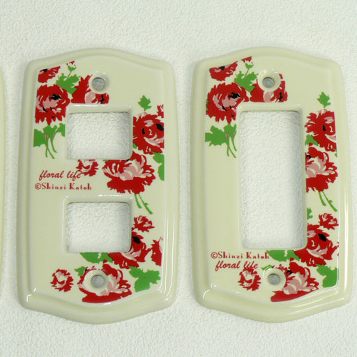 It is an earthenware switchplate 1 hole .2 hole .3 hole among Shinzi Katoh design floral life ☆ bright flowers