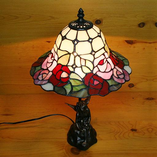【送料無料】ステンドグラスランプ 天使と小鳥のローズランプ大型 26×h46【照明/スタンド/薔薇/エンジェル】
