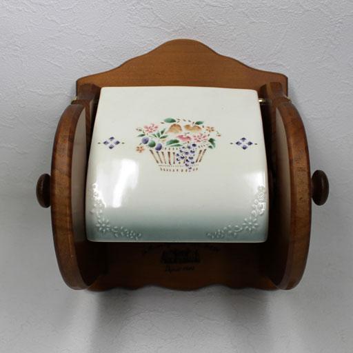 マニープロヴァンス(グリーンぼかし) 木製トイレットペーパーホルダー<ネジ付き>