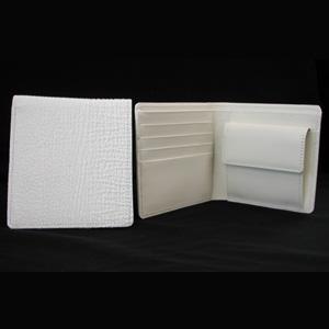 【残り1点限り】シャークスキン二つ折り財布ホワイト/鮫革二つ折り財布/サメ革ウォレット/日本製