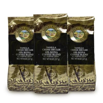 送料無料 レギュラーコーヒー バニラ フレーバーコーヒー コーヒー粉 コーヒー豆 ハワイ ロイヤルコナ Royal 倉庫 Kona ロイヤルコナコーヒー 227g ブリュレ ヴァニラクリームブリュレ 《送料無料》オリエントコマース 贈答 3袋 × 珈琲 中挽き