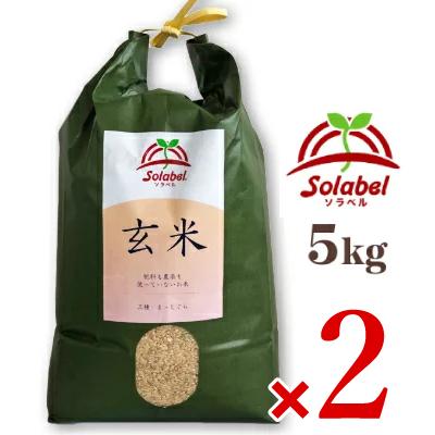 《送料無料》 ソラベル 玄米 5kg 青森県産 品種:まっしぐら(うるち米) × 2袋 [Solabel]【無農薬 無肥料 自然栽培】《あす楽》