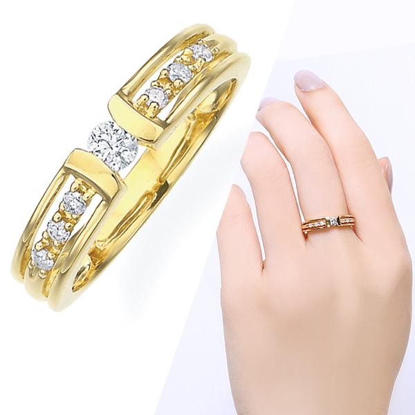 K18ダイヤモンドリング ダイヤモンド リング【0.2カラット】