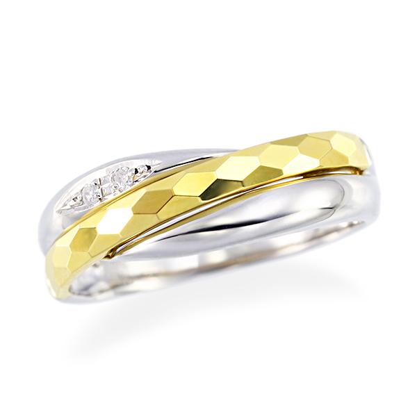 ポイント10倍キャンペーン ~9/14(月)9:59までプラチナ/K18イエローゴールドダイヤモンドリング ツーカラー
