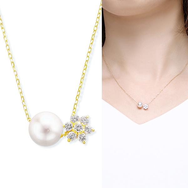 K10イエローゴールドアコヤ真珠ネックレス(7mm)