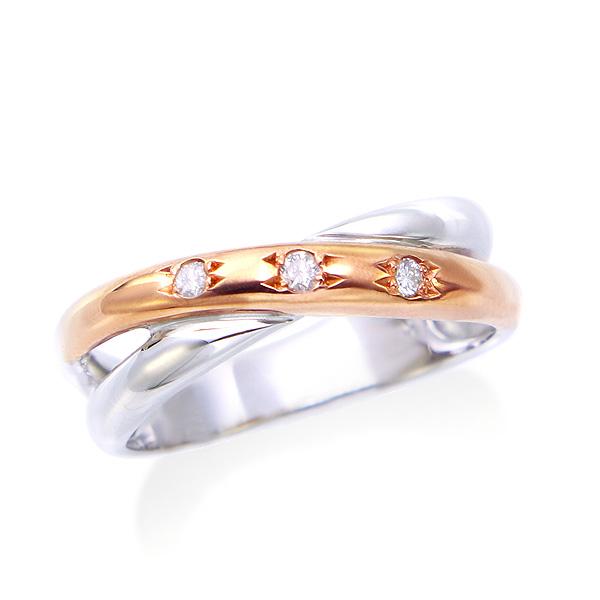 【DEAL】 K10ホワイトゴールド/K10ピンクゴールドダイヤモンドリング(ピンキーリング)ツーカラー