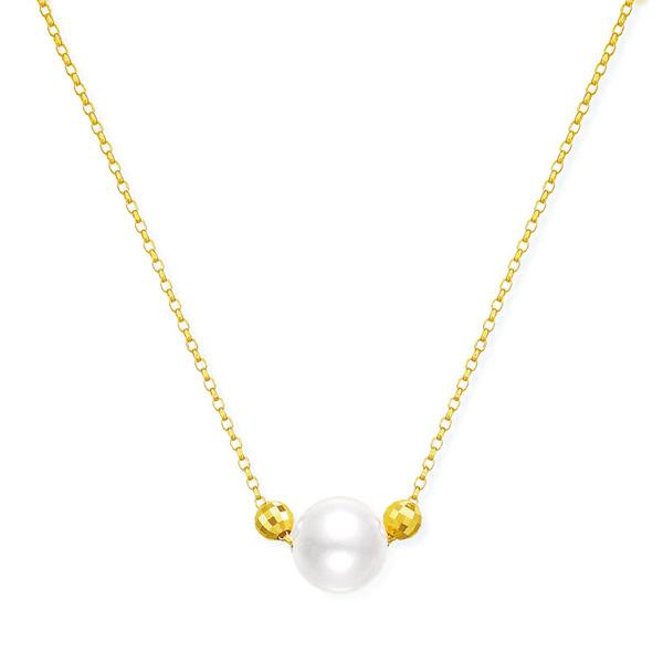 ポイント10倍キャンペーン ~5/18(月)9:59までK18イエローゴールドアコヤ真珠ネックレス(6.5mm)