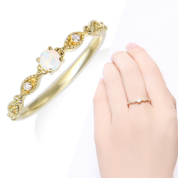 イエローゴールドオパール・ダイヤモンドリング ダイヤモンド リング