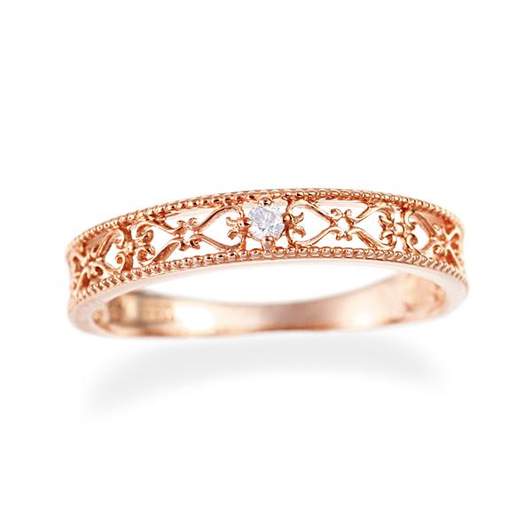 【DEAL】 K10ピンクゴールドダイヤモンドリング(ピンキーリング)