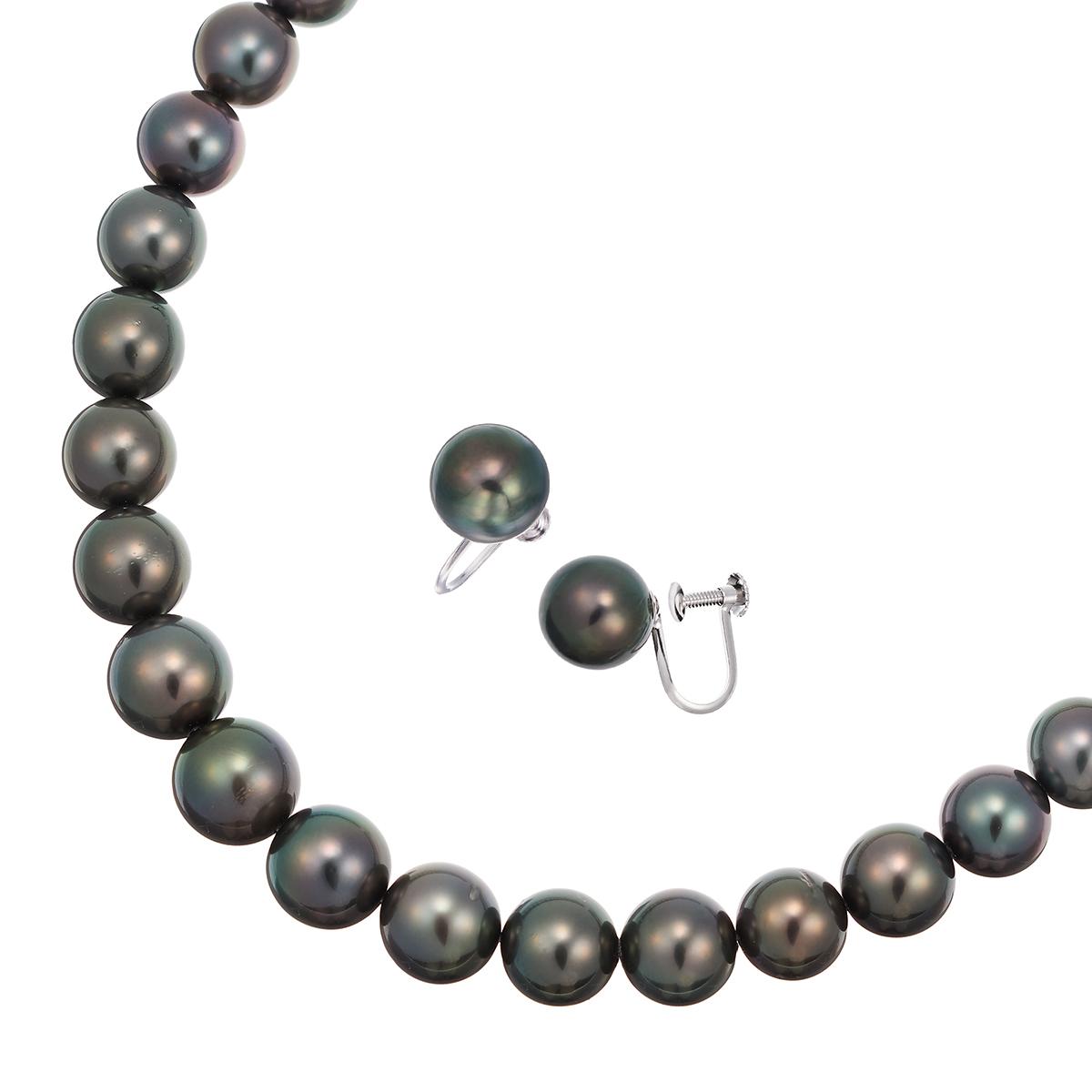 ポイント10倍キャンペーン ~9/14(月)9:59まで南洋黒真珠ネックレス・イヤリングセット(7.5~8mm)