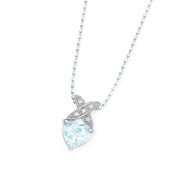 ホワイトゴールドアクアマリン・ダイヤモンドネックレス ダイヤモンド ネックレス