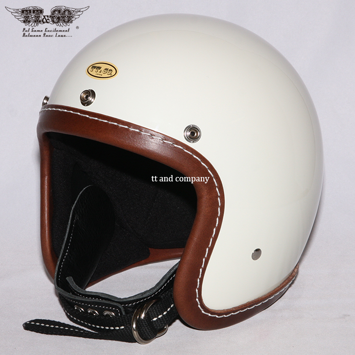 TT&CO. 500TX LEATHER RIM SHOT BROWN LEATHER SMALL OPEN FACE HELMET