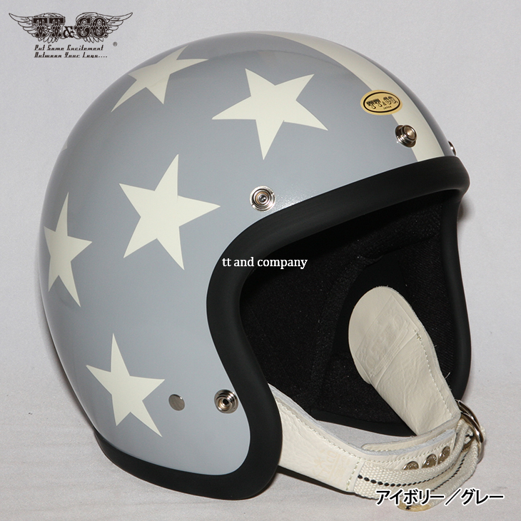 TT&CO. SUPER MAGNUM DISTORTION SEVEN STARS CONSERVATIVE 3/4 OPEN FACE MOTORCYCLE HELMET JAPANESE / DOT STANDARD