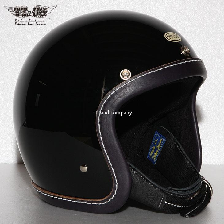 TT&CO. SUPER MAGNUM LEATHER RIM SHOT VINTAGE NAVY BLUE LEATHER 3/4 OPEN FACE MOTORCYCLE HELMET JAPANESE / DOT STANDARD