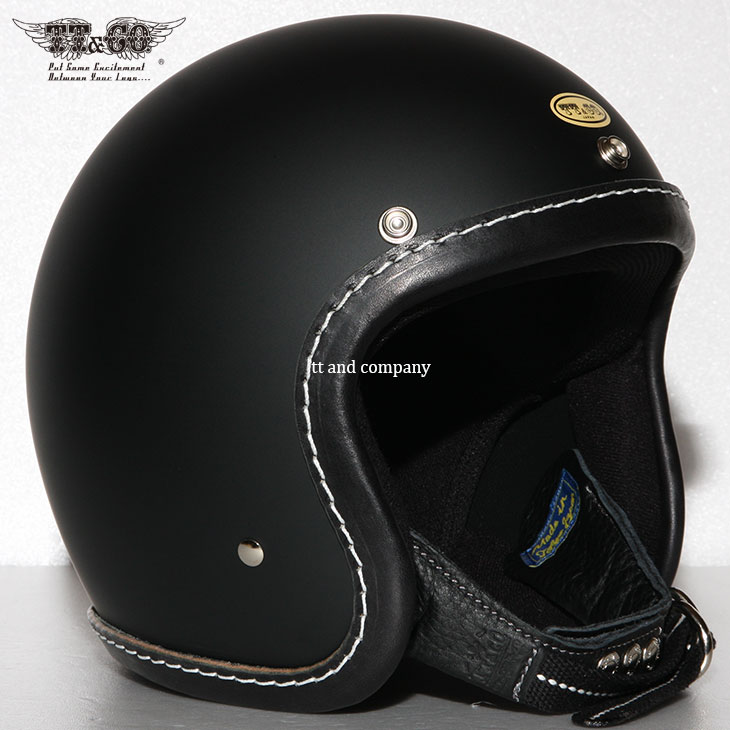 TT&CO. SUPER MAGNUM LEATHER RIM SHOT BLACK LEATHER OPEN FACE MOTORCYCLE HELMET JAPANESE / DOT STANDARD