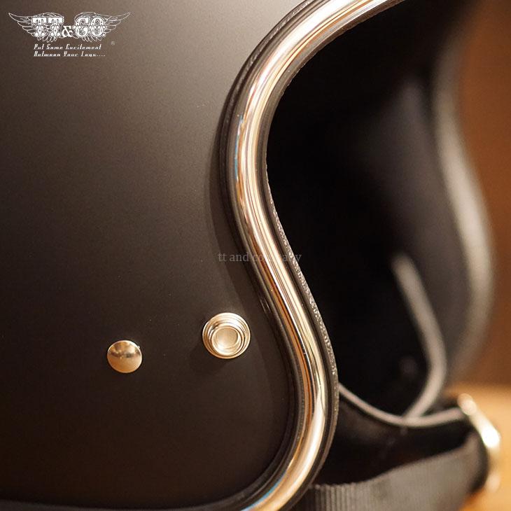 TT&CO. SUPER MAGNUM CHROME TRIM 3/4 OPEN FACE MOTORCYCLE HELMET JAPANESE / DOT STANDARD