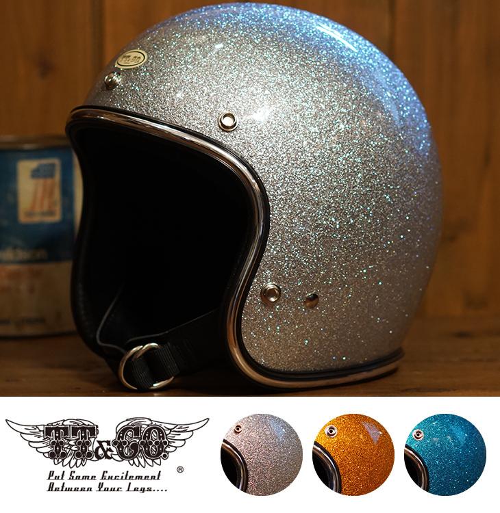 スーパーマグナム ギンギラセブンティーズ クローム トリム スモールジェットヘルメット 乗車用 SG/PSC/DOT規格品